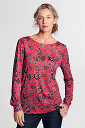 Women's Long Sleeve Print Drape Balletneck Top