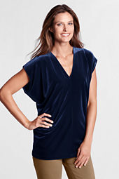 Women's Dolman Sleeve Velvet V-neck Top