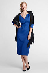 Women's Plus Size 3/4-sleeve Drapey Tucked Dress