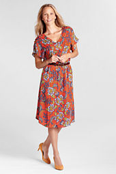 Women's Short Sleeve Pattern Georgette Pintuck Dress