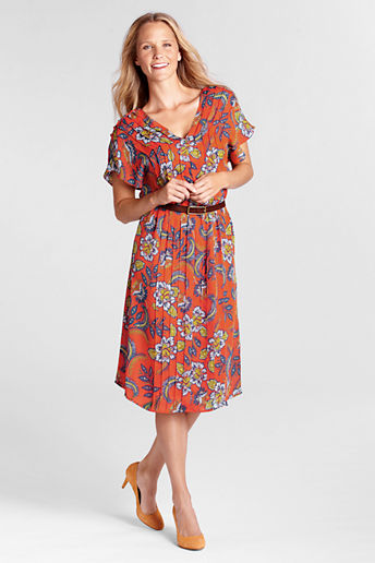 Women's Regular Short Sleeve Pattern Georgette Pintuck Dress - Rich Persimmon Floral, 14