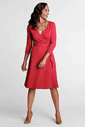 Women's 3/4-sleeve Knit Faux Wrap Drapey Ponté Dress