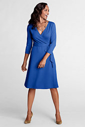 Women's Ponte Jersey Faux Wrap Dress