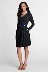 Women's Pleat Shoulder Drapey Ponté V-neck Dress
