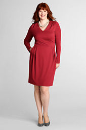 Women's Plus Size Pleat Shoulder Drapey Ponté V-neck Dress
