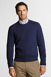 Men's Meridian Cotton Wool Cable Crew Sweater