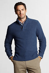 Men's Meridian Cotton Wool Button Mock Sweater