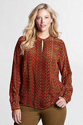 Women's Long Sleeve Silk Pintuck Blouse