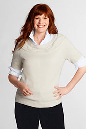 Women's Plus Lambswool Blend Shimmer Boatneck