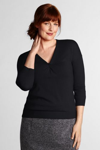 Women's Plus Knotted Merino V-neck Sweater