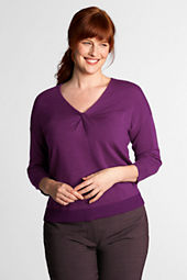 Women's Plus Size 3/4-sleeve Merino Blend Knotted Neck Pullover