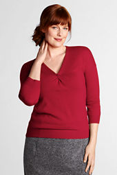Women's Plus Size 3/4-sleeve Merino Blend Knotted Neck Sweater