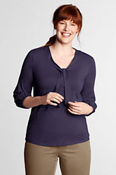 Women's Plus Size Lightweight Cotton Modal 3/4-sleeve Tie Neck Top