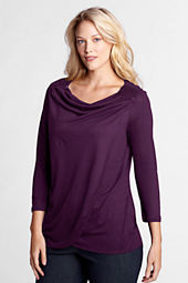Women's Plus Size 3/4-sleeve Sequin Drapeneck Top
