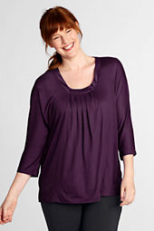 Women's Plus Size Pleated Drapeneck Tunic