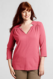 Women's Plus Size 3/4-sleeve Lightweight Cotton Modal Notch Neck Tunic