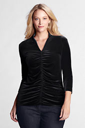 Women's Plus Size Velvet Deep V-neck Top