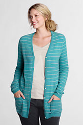 Women's Long Sleeve Merino Blend Stripe Long V-neck Sweater