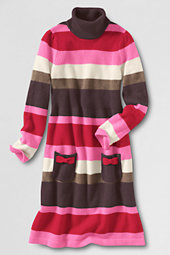 Girls' Rollneck Striped Sweater Dress