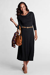 Women's 3/4-sleeve Knit Drapeneck Dress