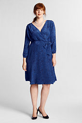 Women's Silk Pattern Tuck Shoulder Dress