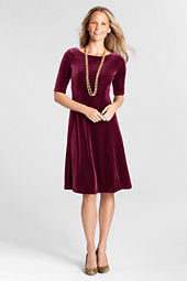 Women's Elbow Sleeve Velvet Dress