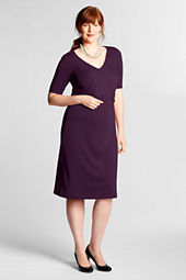 Women's Plus Size Elbow Sleeve Drapey Ponté Dress