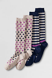 Women's Polka Stripe Pattern Trouser Socks (2-pack)