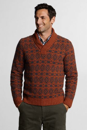 Offerta: Lands' End Men's Regular Merino Wool Blend Fair Isle V-neck Sweater