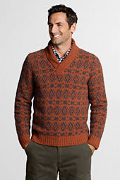 Men's FairIsle Wool Alpaca Folded V-neck Sweater