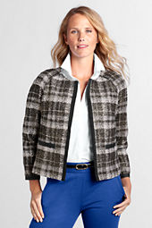 Women's Collarless Foiled Tweed Jacket