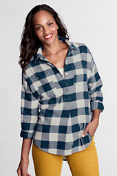 Women's Petite Long Sleeve Flannel Drop Shoulder Tunic