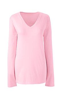 Supima® Langarm-Shirt mit V-Ausschnitt für Damen