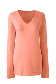 Women's Relaxed Long Sleeve T-shirt Supima Cotton V-Neck