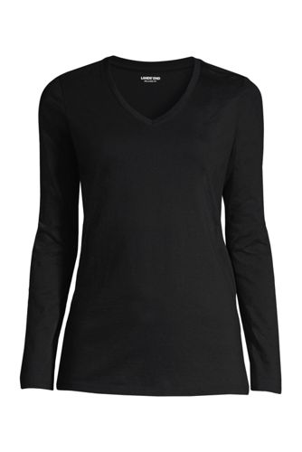 Le T-Shirt Supima Col V Manches Longues, Femme Grande Taille
