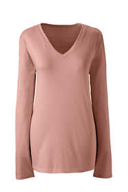 Women's Petite Relaxed Long Sleeve T-shirt Supima Cotton V-Neck