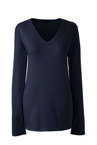 Supima® Langarm-Shirt mit V-Ausschnitt für Damen in Plusgröße