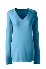 Women's Plus Size Petite Relaxed Long Sleeve T-shirt Supima Cotton V-Neck