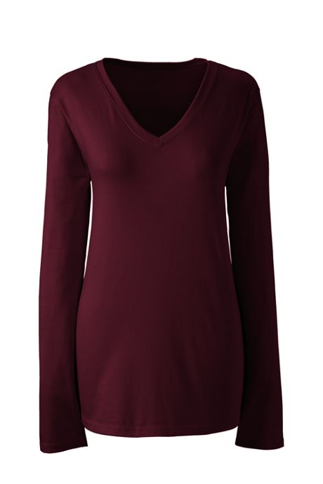 Women's Tall Supima Cotton Long Sleeve T-shirt - Relaxed V-neck