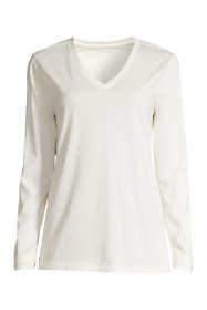 Women's Plus Size Supima Cotton Long Sleeve T-shirt - Relaxed V-neck