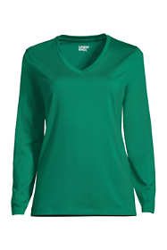 Women's Plus Size Petite Relaxed Supima Cotton Long Sleeve V-Neck T-Shirt