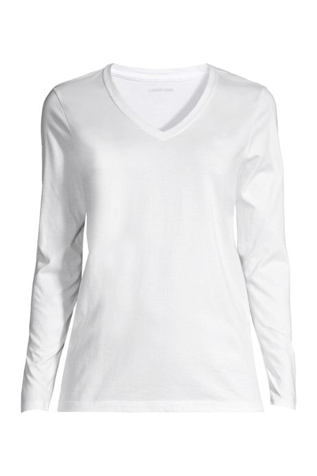 Women's Petite Supima Cotton Long Sleeve T-shirt - Relaxed V-neck