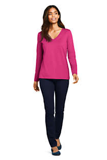 Women's Relaxed Supima Cotton Long Sleeve V-Neck T-Shirt, Unknown