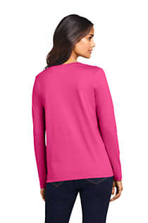 Women's Relaxed Supima Cotton Long Sleeve V-Neck T-Shirt, Back