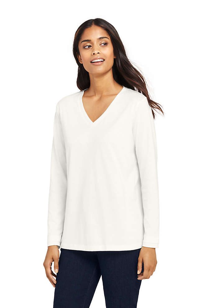 Women's Relaxed Supima Cotton Long Sleeve V-Neck T-Shirt, Front