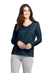 Women's Tall Relaxed Supima Cotton Long Sleeve V-Neck T-Shirt