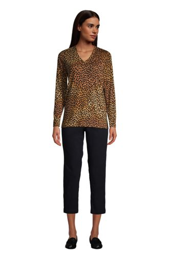 Women's Tall Relaxed Supima Cotton Long Sleeve V-Neck T-Shirt
