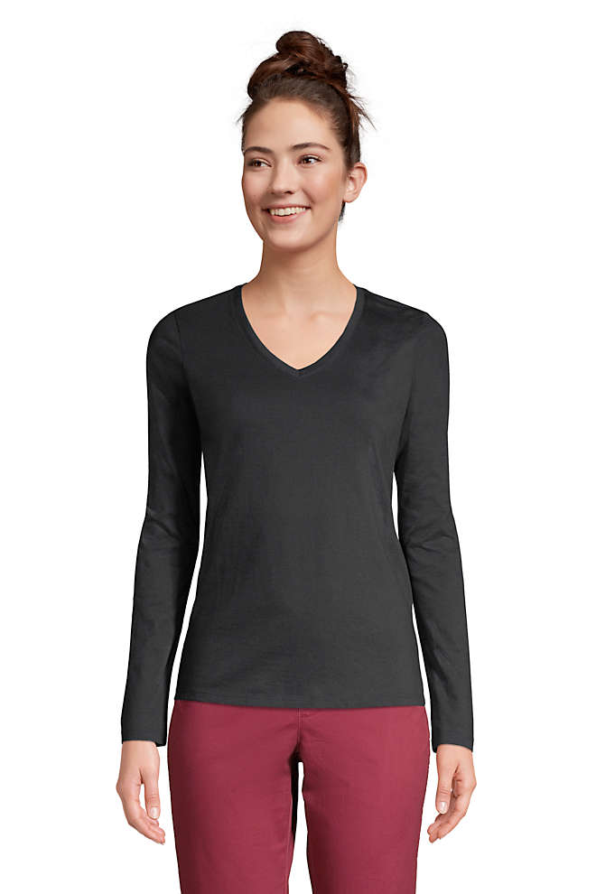 Women's Petite Relaxed Supima Cotton Long Sleeve V-Neck T-Shirt, Front