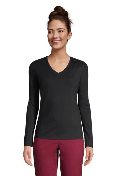 Women's Petite Relaxed Supima Cotton Long Sleeve V-Neck T-Shirt