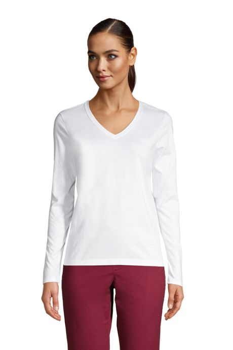 Women's Relaxed Supima Cotton Long Sleeve V-Neck T-Shirt